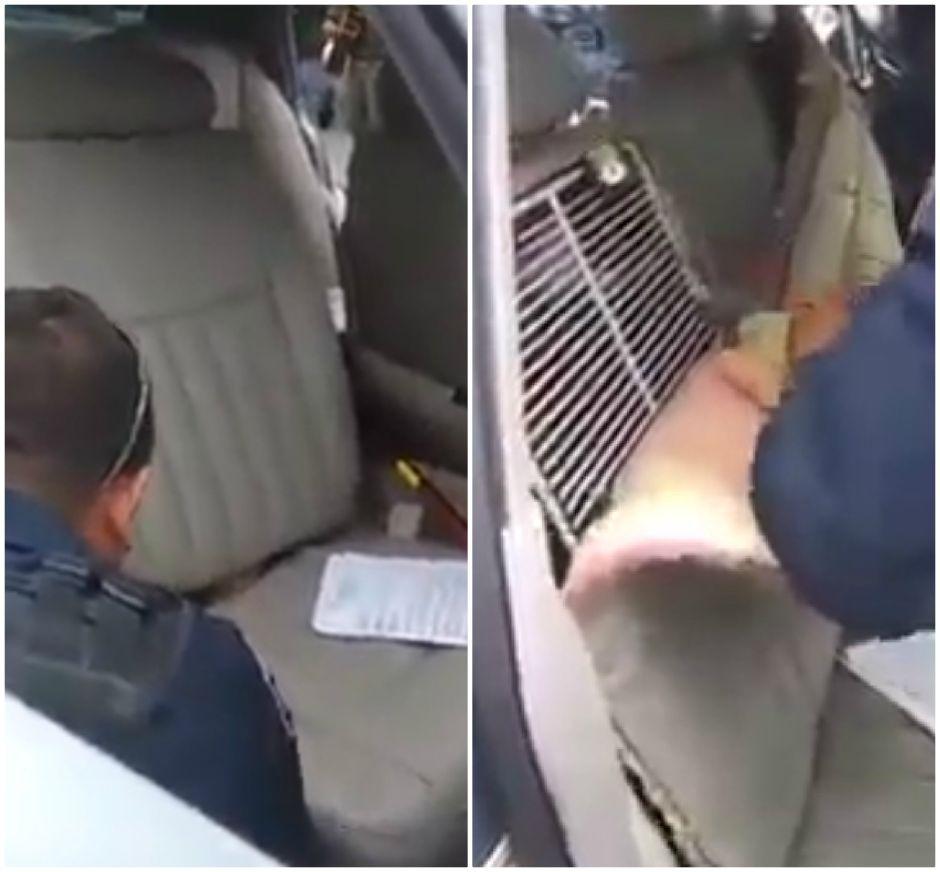 Esconden migrantes dentro de asientos de auto para cruzar la frontera y policías mexicanos los descubren