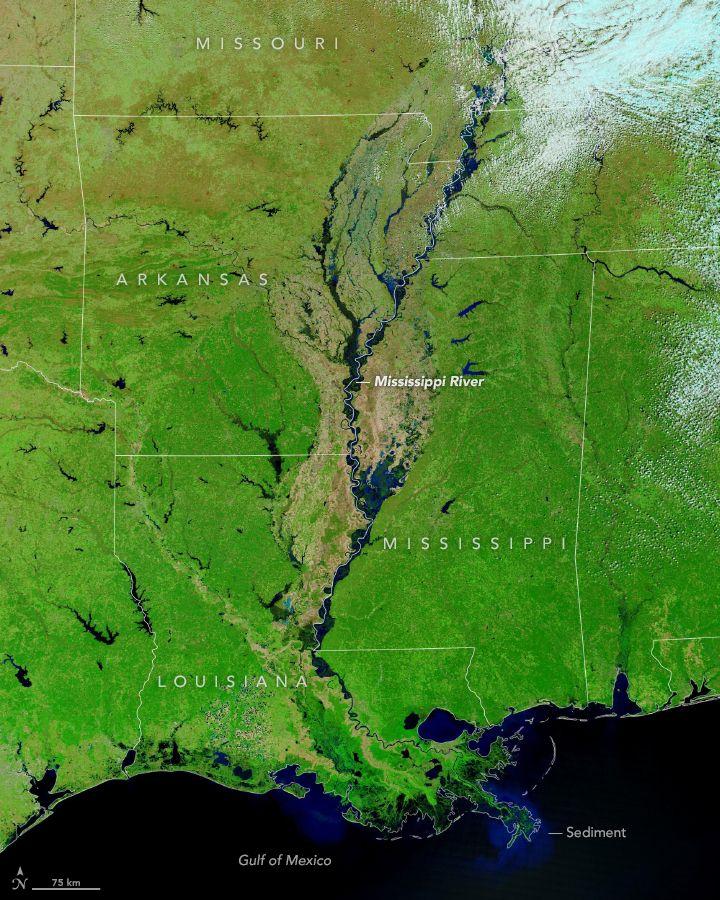 Los ríos Missouri y Mississippi están muy crecidos.