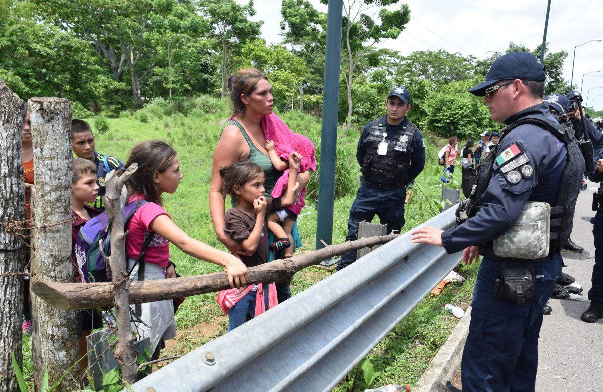 Miigrantes centroamericanos en la frontera con Chiapas (México)