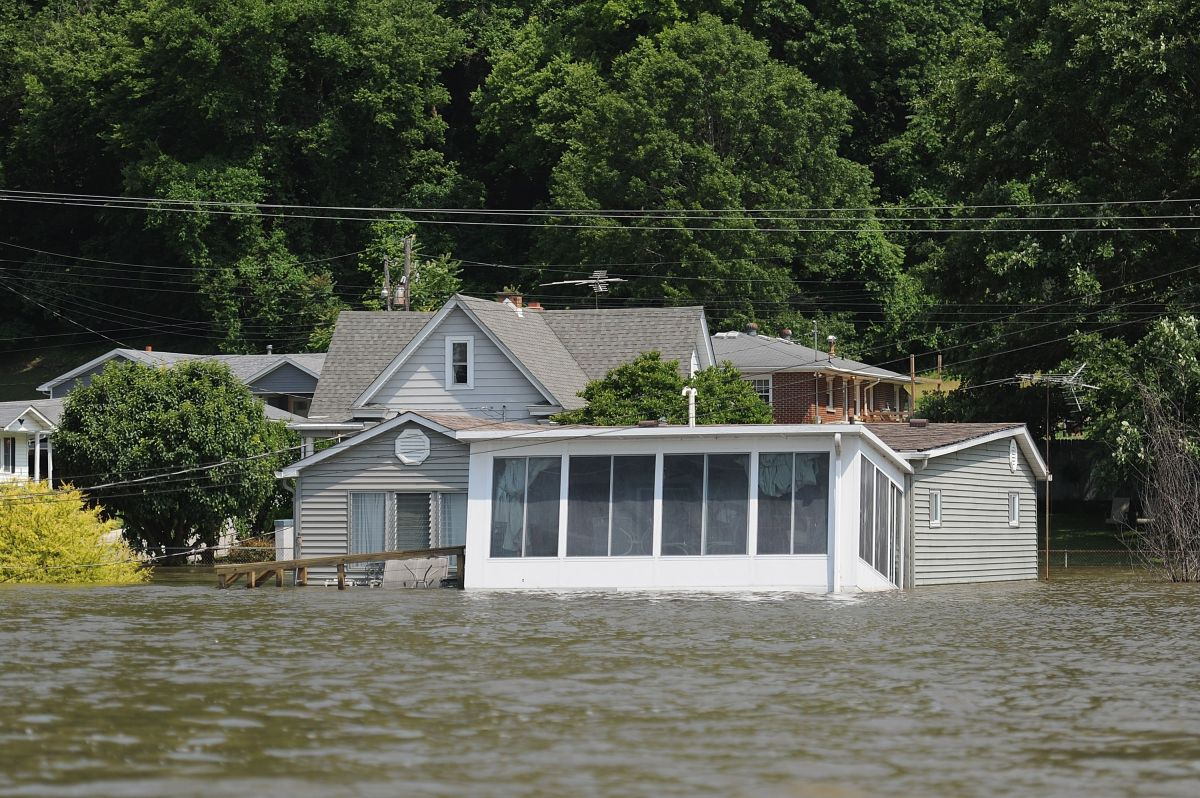 Inundaciones del río Mississippi el 7 de junio de 2019 en Grafton, Illinois.