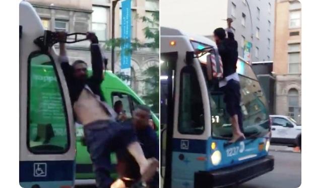 VIDEO: maníaco con cuchillo se colgó de autobús MTA en East Village