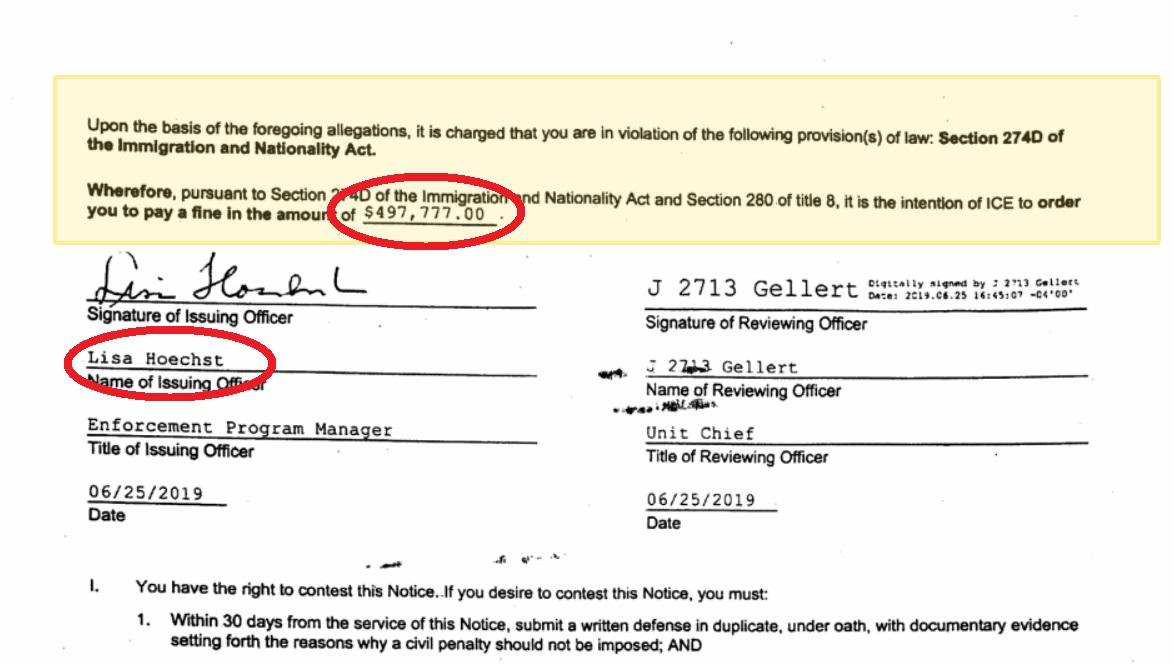 Los detalles de la notificación que ICE envía a indocumentados donde exige $500,000 por no irse del país