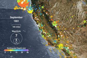 Video: 30 años de terremotos en California en un minuto