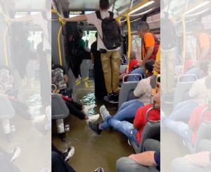 El transporte en Nueva York se supera: se inunda un autobús con pasajeros adentro