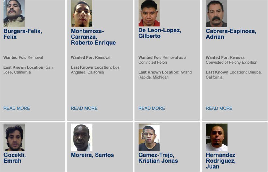 Ocho hispanos encabezan la lista de los criminales más buscados por ICE