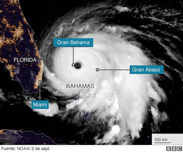Huracán Dorian: la impactante imagen que muestra parte de Gran Bahama bajo el agua