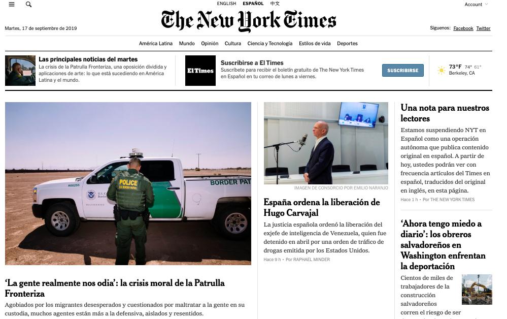 Suspenden operación del New York Times en Español