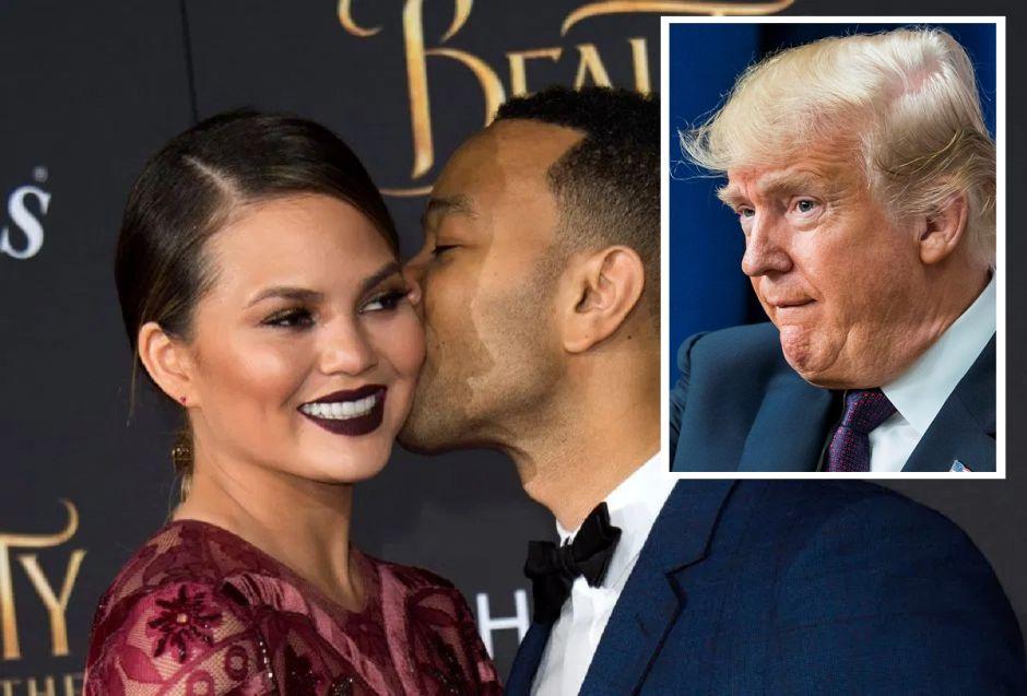 """Trump lanza fuerte insulto a esposa de John Legend y éste responde sobre Melania y un beso """"coqueto"""""""