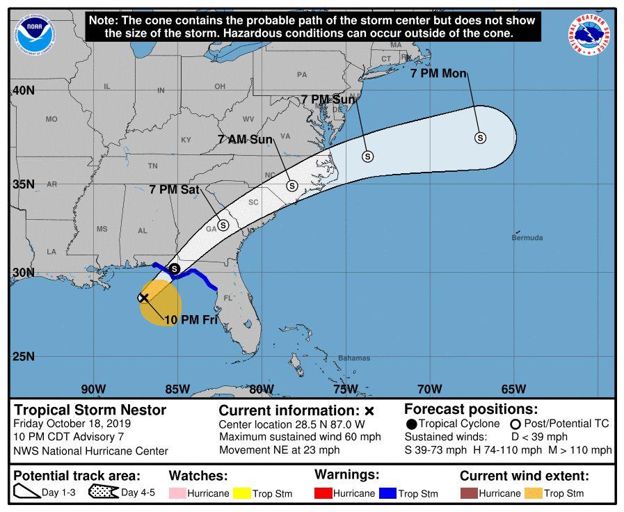 Tormenta tropical Néstor llega a la costa del Golfo en Florida