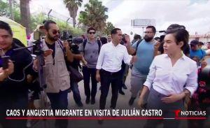 Candidato demócrata acompañó a solicitantes de asilo a la frontera, pero no salió bien