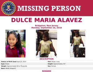 Sube a $52 mil dólares recompensa por niña Dulce María, a 24 días desaparecida en Nueva Jersey