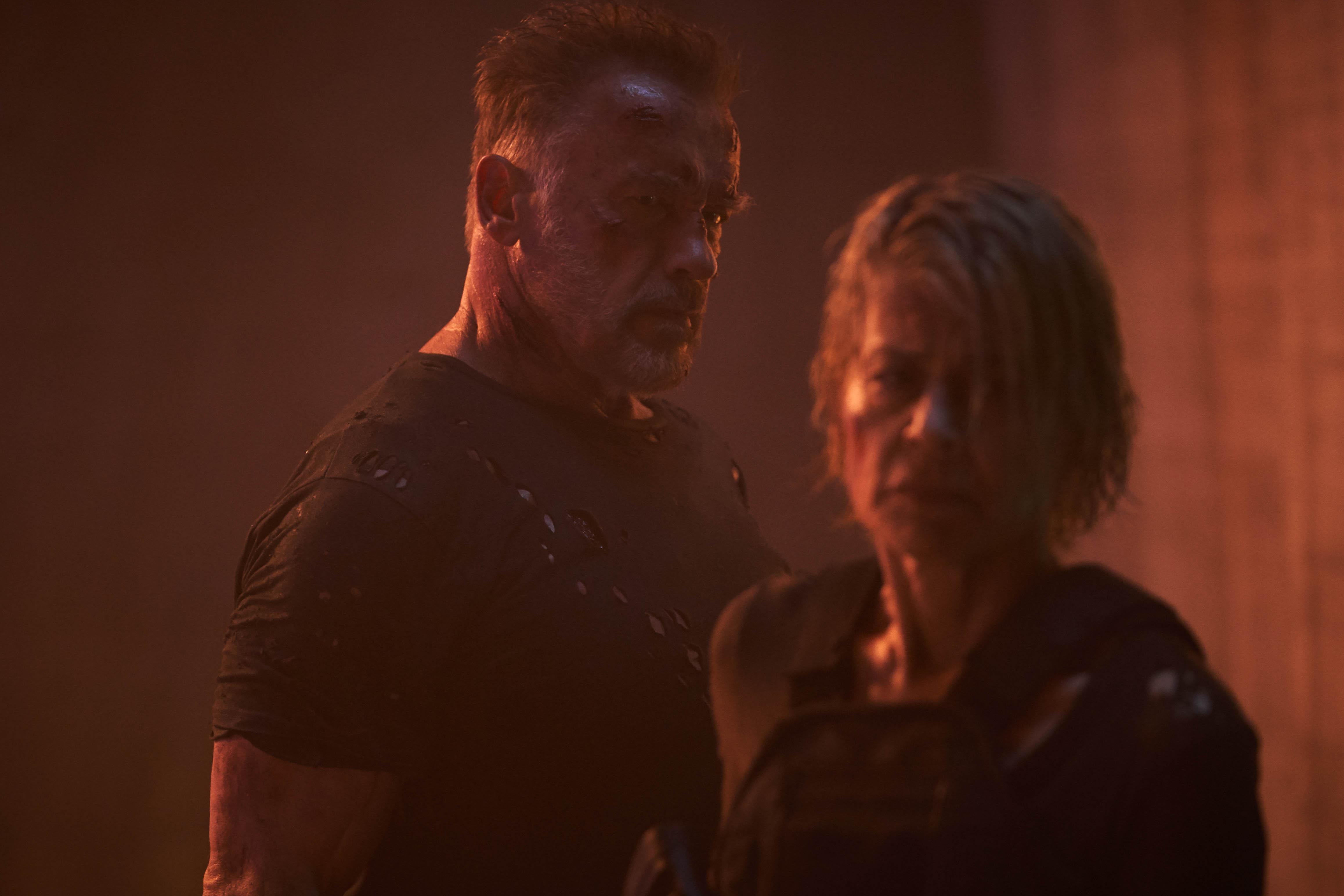 Arnold Schwarzenegger y Linda Hamilton se reencontraron años después. / Foto: Paramount Pictures