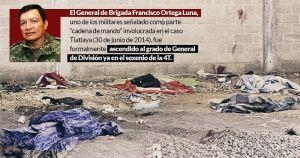 Ascienden a general a militar mexicano vinculado a la masacre de Tlataya