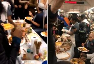 VIDEO: Celebran con banquete Día de Acción de Gracias en vagón de Subway de Nueva York