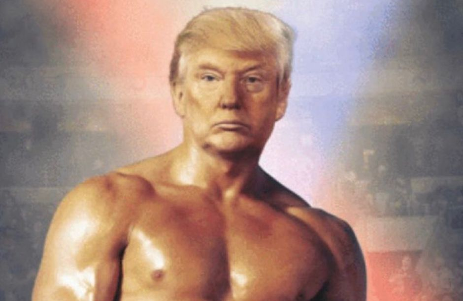 Trump presume cuerpazo… con montaje de foto del 'Rocky' de Sylvester Stallone