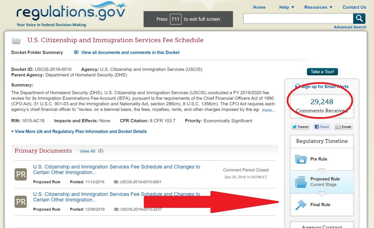 ¿Casi 30,000 comentarios complicarán aumento de tarifas migratorias de USCIS?