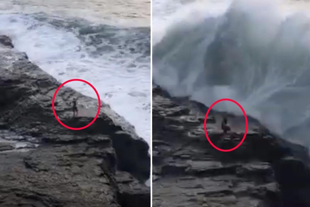 Hombre en California da la espalda al mar y se lo lleva una ola de gran tamaño
