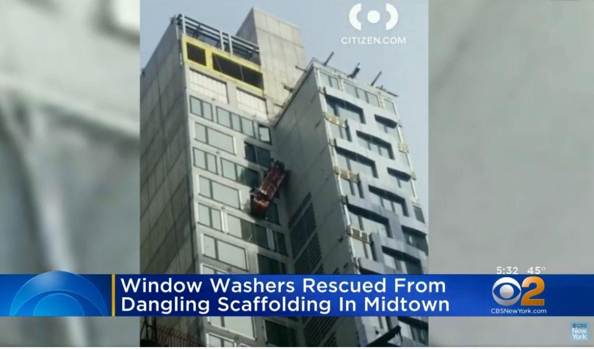Milagroso rescate de trabajadores que limpiaban ventanas en rascacielos de Nueva York