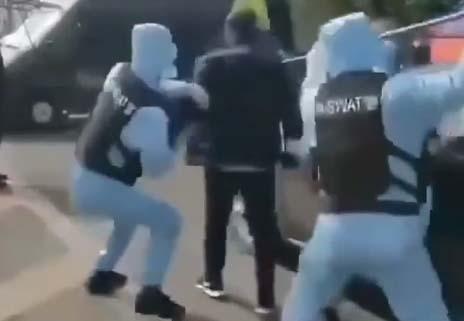 """La farsa sobre el video de policías chinos SWAT """"cazando"""" con embudo a paciente con coronavirus"""