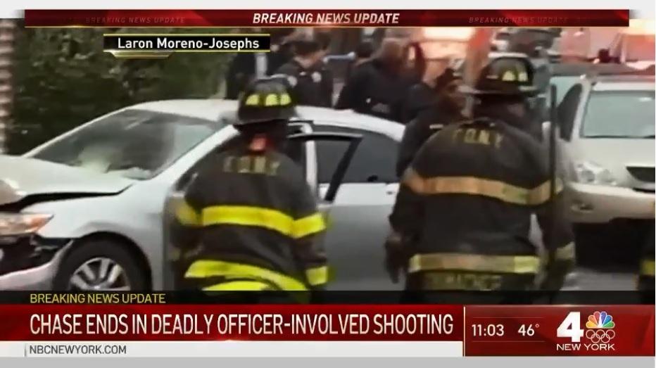 Persecución policial terminó con choque y hombre muerto a balazos en Queens