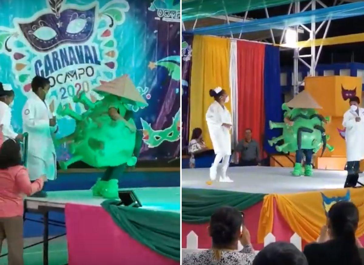 "VIDEO: Niño mexicano causa sensación al bailar cumbia disfrazado de ""coronavirus"""
