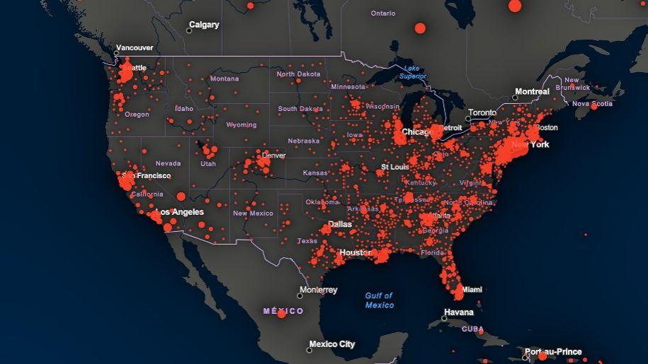 El alarmante crecimiento exponencial del coronavirus en EEUU