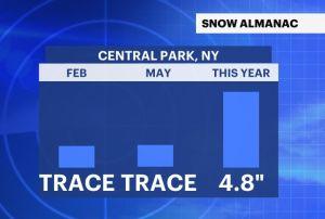 Hubo nieve en mayo por primera vez en 43 años en el Central Park de Nueva York