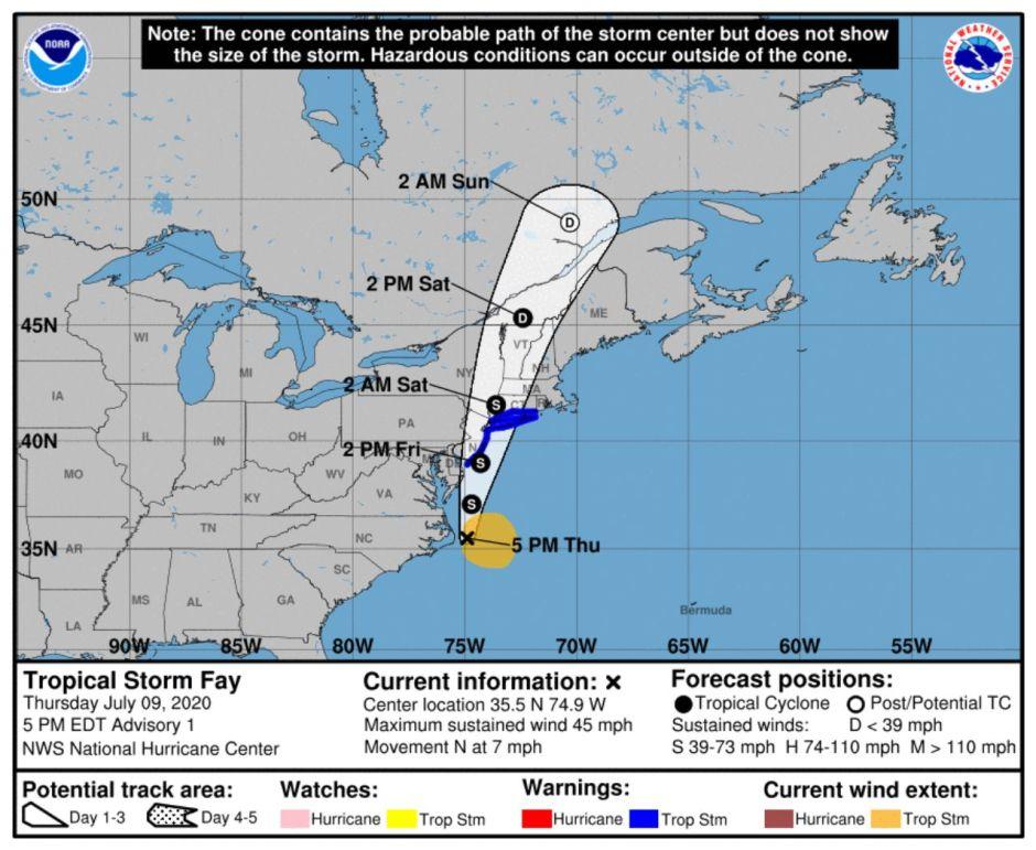 La nueva tormenta tropical Fay frente a la costa este va con rumbo a Nueva York