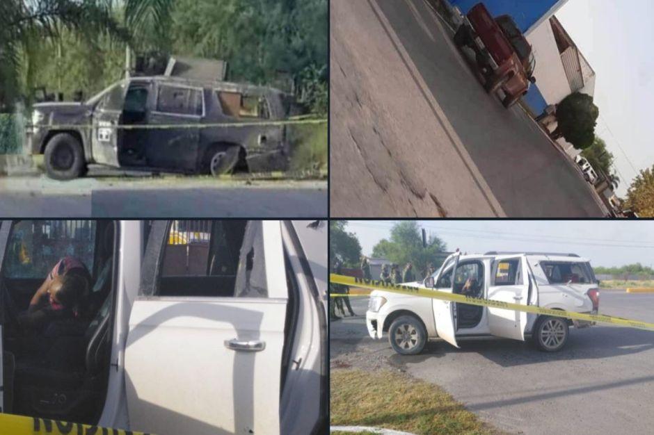 FOTOS: Enfrentamiento a unas millas de frontera deja varias trocas baleadas y con muertos