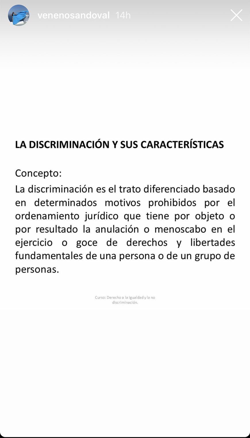 Carolina Sandoval publica definición de 'discriminación'