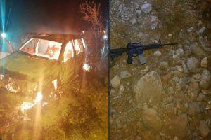 Sicario del Cártel del Noreste ataca a policías y se quema vivo tras incendio de auto