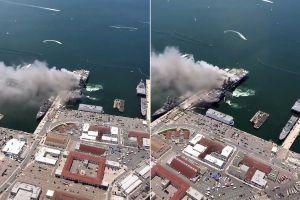 21 hospitalizados en la sobrecogedora explosión del buque militar en San Diego