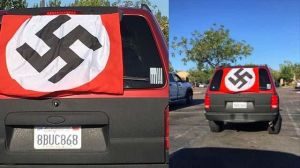 Latino de San Diego que cubre su auto con bandera nazi se dice víctima de agresión