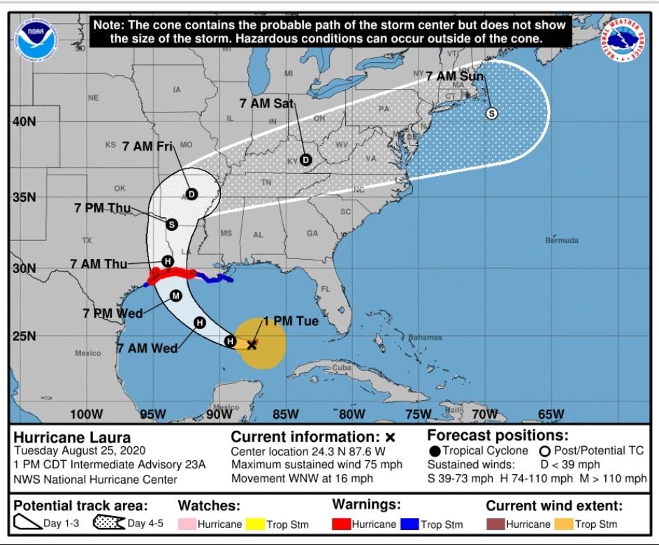 Huracán Laura podría impactar Louisiana y Texas como categoría 3 desde el miércoles