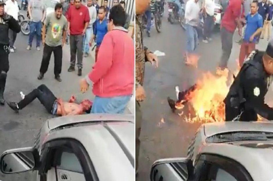 VIDEO: Turba quema vivo a supuesto ladrón