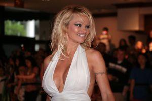 Pamela Anderson entró a la cocina con una sexy falda de encaje y al agacharse dejó ver más de la cuenta