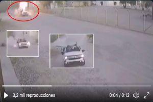 VIDEO: Momento exacto que camioneta estalla; importante narco iba en ella supuestamente