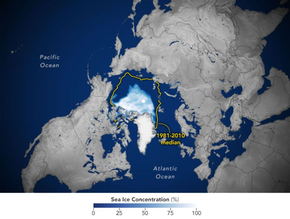 Arctic sea ice reaches its second smallest area in recorded history