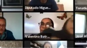 VIDEO: Diputada de Morena simula presencia con fondo de pantalla