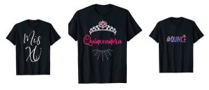 10 diseños de T Shirts para que toda la familia celebre a la quinceañera