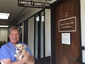 Perro sin dientes da a apoyo a pacientes en consulta dental