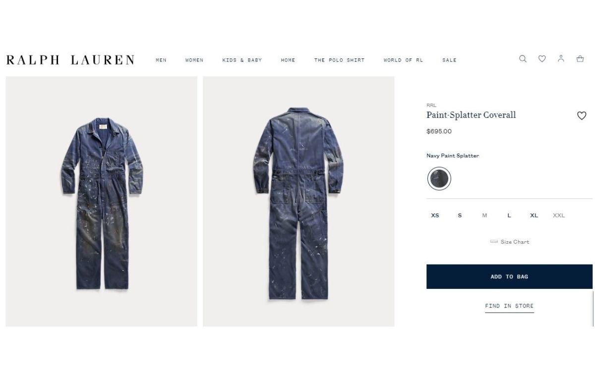 El overol manchado de pintura que Ralph Lauren vende en $695 dólares