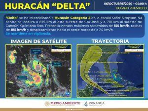Huracán Delta se dirige al caribe mexicano, impactaría en categoría 4 en Quintana Roo