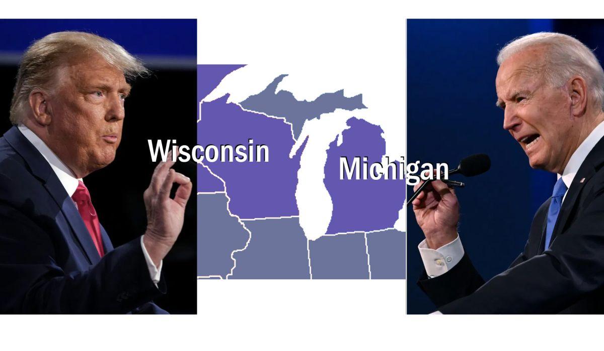 Biden lidera con poco Wisconsin y Michigan; campaña de Trump afirma que triunfará