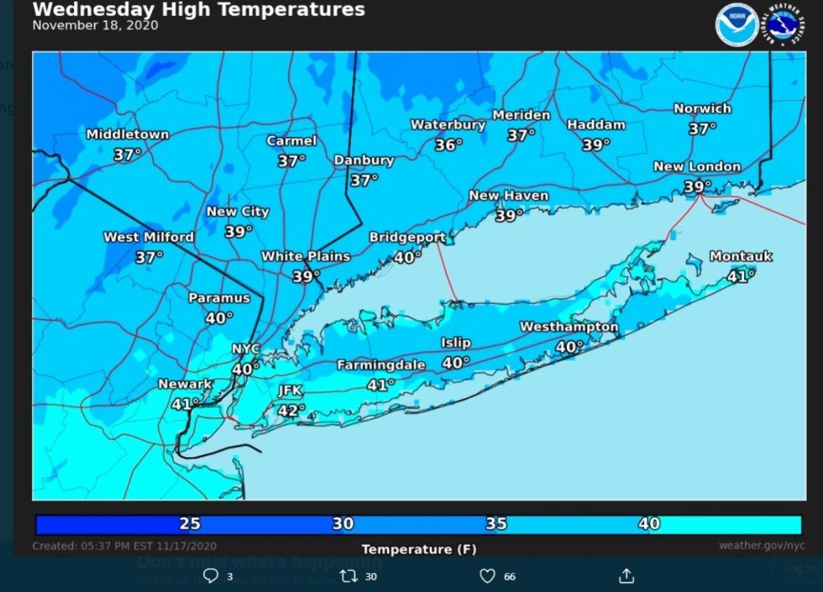 Hoy es el día más frío en lo que va de temporada en Nueva York: el invierno desplaza al otoño