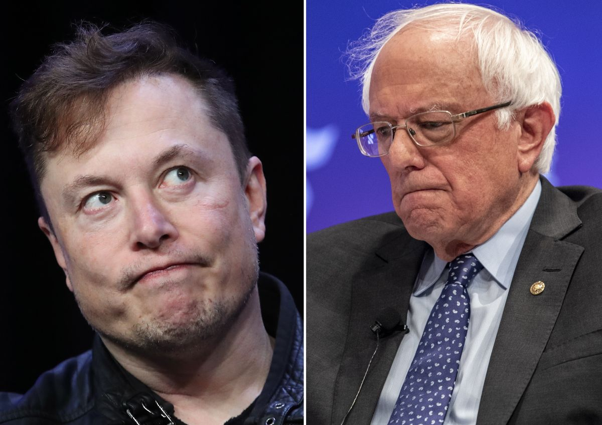 El empresario Elon Musk y el senador Bernie Sanders.