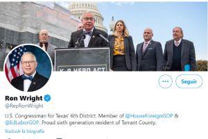 Muere congresista republicano Ron Wright por coronavirus