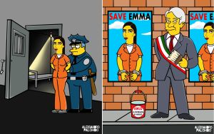 Lanzan dibujos estilo Los Simpson de AMLO y Emma Coronel detenida