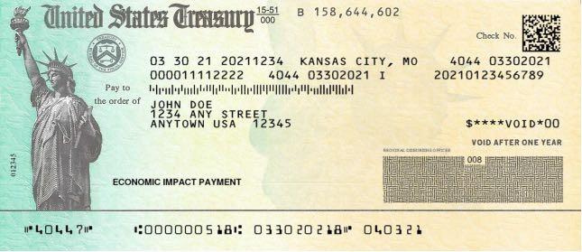 Tercer cheque de estimulo en papel IRS