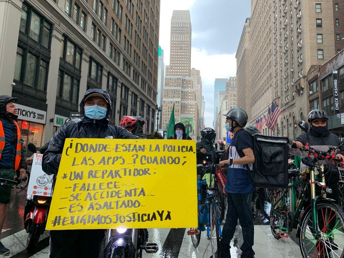 'Deliveristas' de Nueva York se tomaron las calles para exigir justicia, protecciones y seguridad